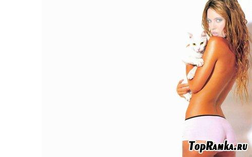 Шаблон женский - блондинка с кошкой