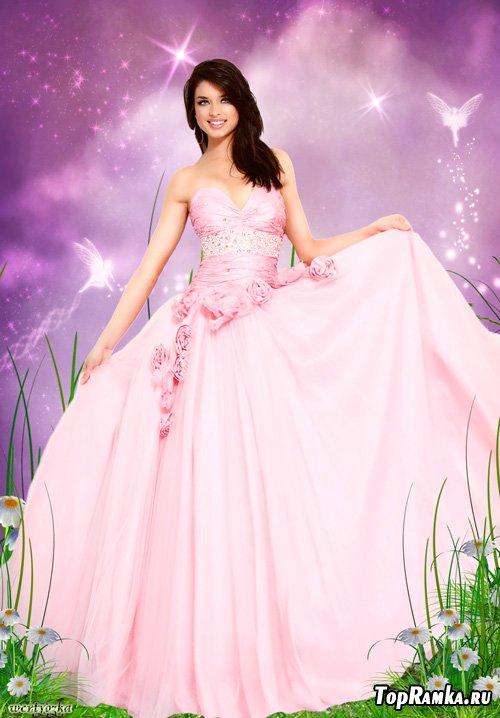 Женский psd шаблон - Девушка в розовом платье с розами на сказочном фоне