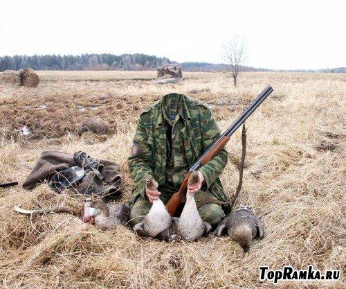 Шаблон для фотошоп – Охотник на уток