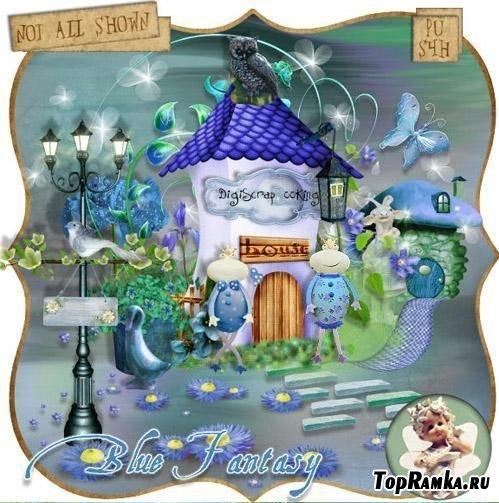 Нежный детский скрап-набор - Голубая фантазия