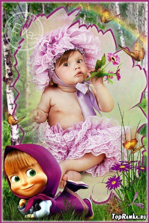 Детская рамочка для фото - Маша в березовой роще
