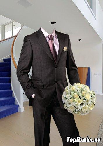 Шаблон для фотошопа – Жених с букетом роз