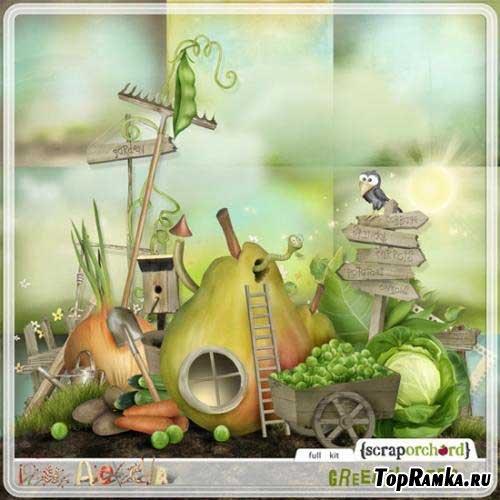 Красивый рисованный скрап-набор - Зелёный огород