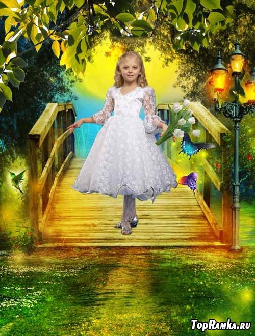 Шаблон детский На сказочном мосту
