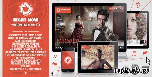 ThemeForest – Right Now Full Video, Image with Audio HTML Template