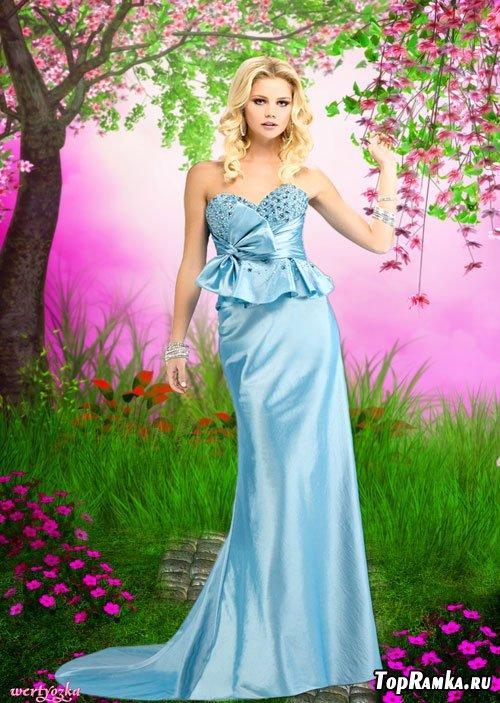 Женский шаблон - Очаровательная  и таинственная  девушка  в голубом вечернем платье