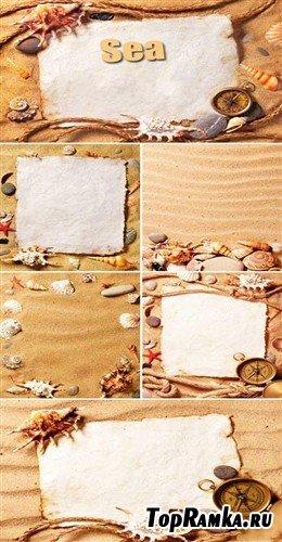 Пляжные фоны в виде оригинальных морских рамок (HQ)