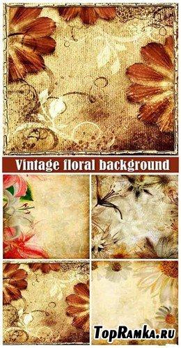 Четыре винтажных фона с цветами
