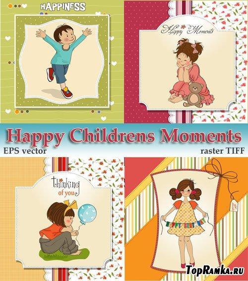 Веселые развлечения радостных детей (растр и вектор)