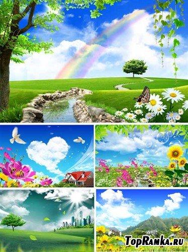 Лето с радугой и облаками (многослойные PSD)