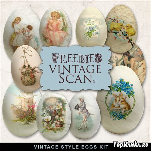 Scrap-Kit Vintage Style Eggs Illustrations
