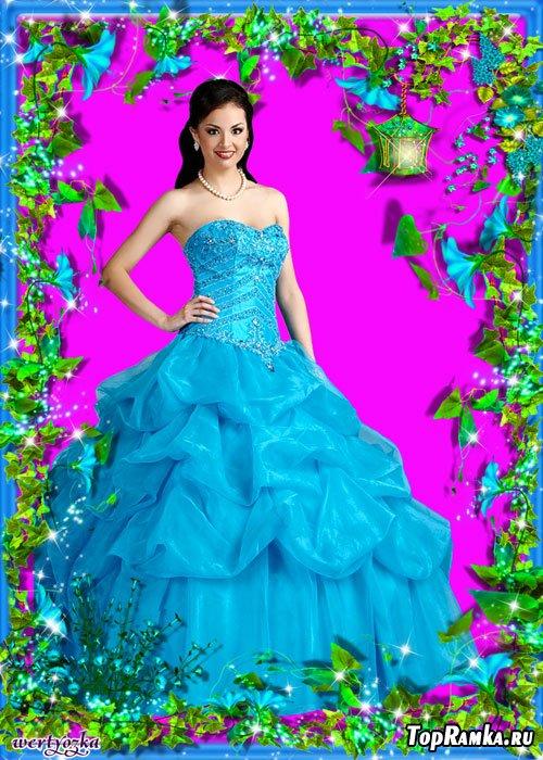Цветочная рамка для фото - Небесно-синие цветы