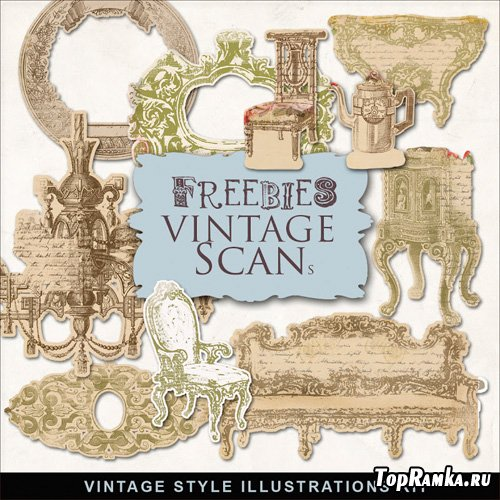Scrap-Kit Vintage Style illustrations furniture