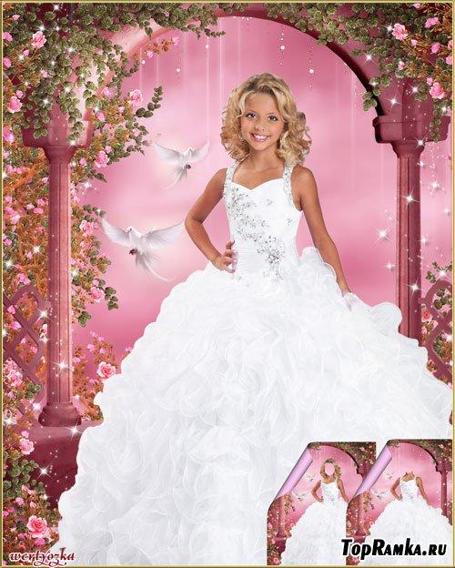 Многослойный детский psd шаблон - Девочка в нарядном белом платье и голуби