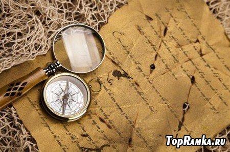 Растровые клипарты на тему компас капитана и лупа