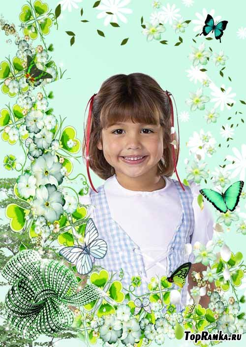 Рамка Нежная зелень цветов