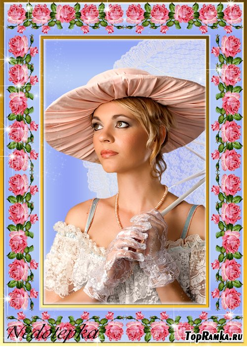 Женская рамочка из роз.