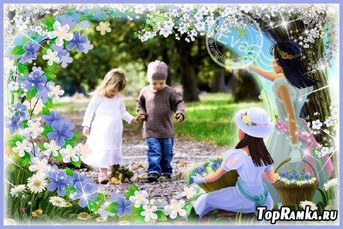 Детская фоторамка - Девочки с цветами