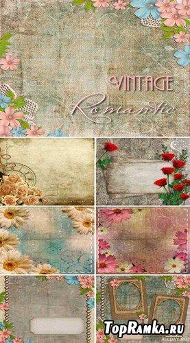 Сборник винтажных фонов с цветами