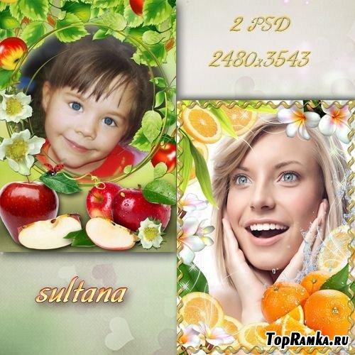 Две фруктовые рамки для фотошопа - Яблочная и апельсиновая