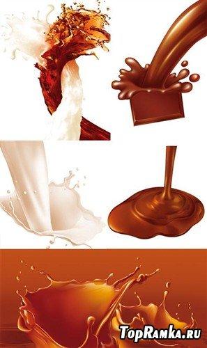 Брызги молока и шоколада в PSD