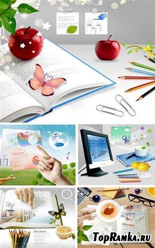 Набор многослойных PSD с книгами и карандашами