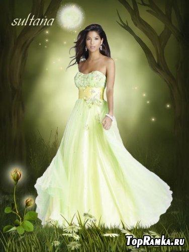 Женский шаблон для фотошопа - Ночь в волшебном лесу
