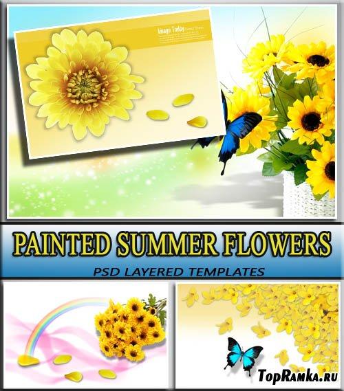 Красочные завораживающие цветы (layered psd)
