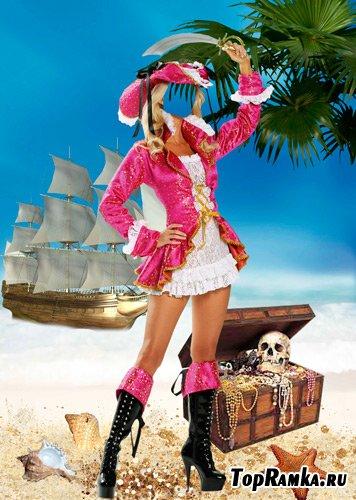 Шаблон для фотошопа – Пиратка в розовом платье