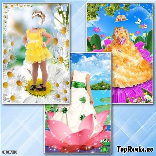 Детские шаблоны для фотошопа – Девочки в цветках