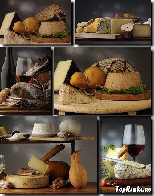 Клипарт - Вино, сыр, хлеб, овощи