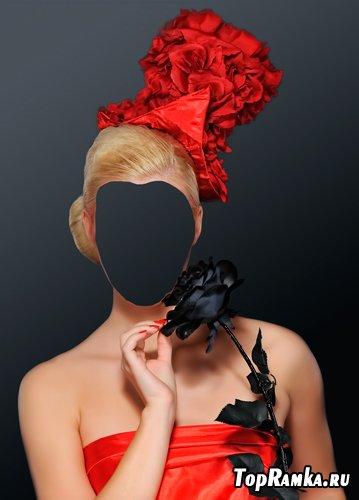 Шаблон для фотошопа – Девушка с черной розой