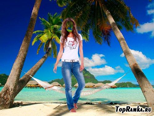 Шаблон для фотошопа – Люблю ходить по песку