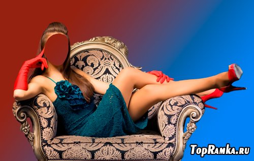 Шаблон для фотошопа – Девушка на диване