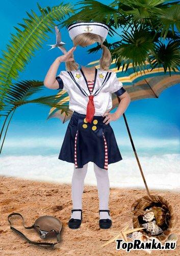 Шаблон для фотошопа – Маленькая морячка