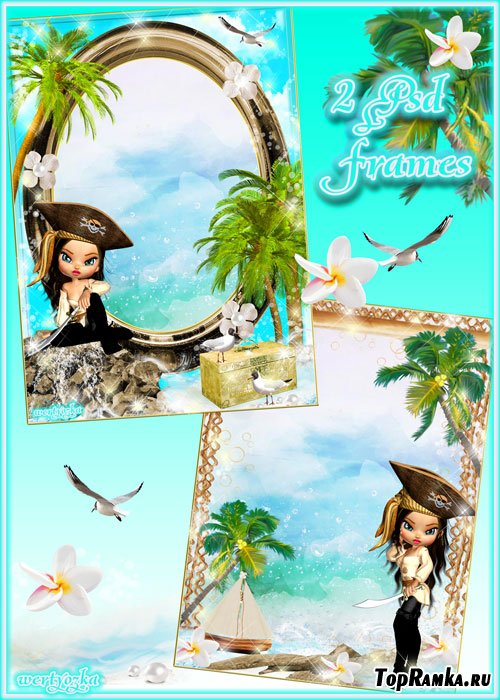 Многослойные рамки для фото - Очаровательные пиратки и волшебное море