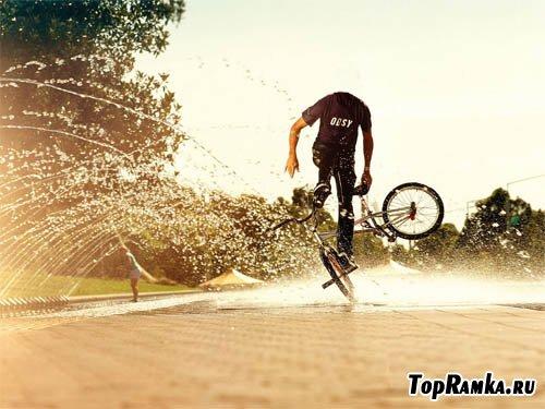 Мужской шаблон - парень на BMX
