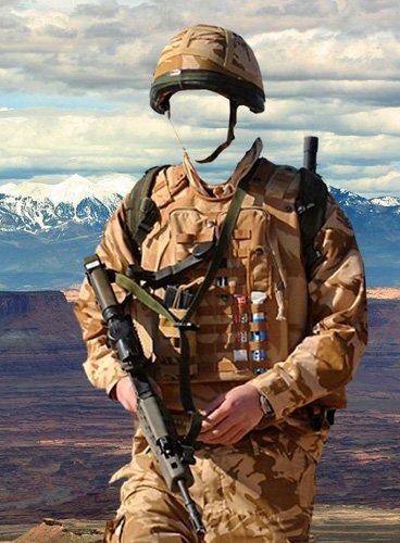Шаблон для фотошопа – Американский солдат в горах