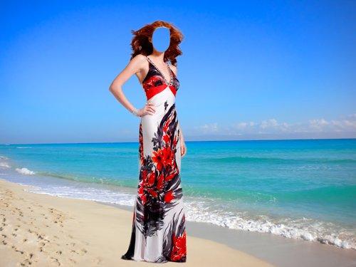 Шаблон для фотошопа – Девушка в платье на берегу моря