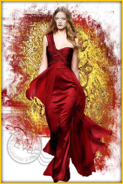 Женский шаблон для фотошопа - Красное золото