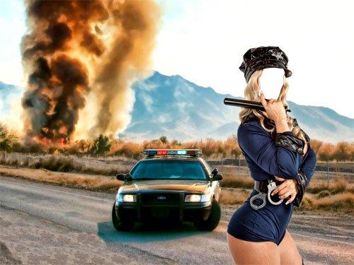 Шаблон для фотошоп - красивая полиция