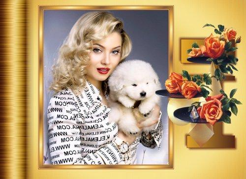 Фоторамка - С декоративной подставкой с розами