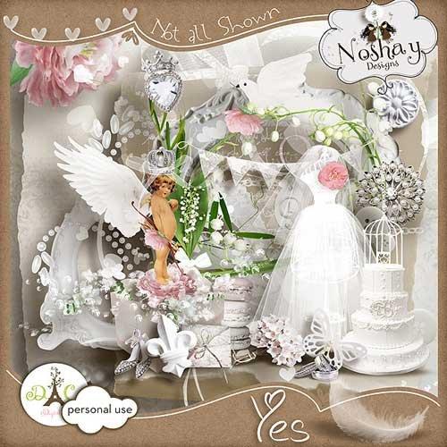 Очаровательный свадебный скрап-набор - Да