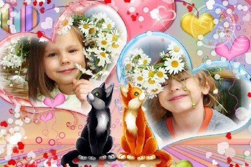 Детская рамка для фотошопа - Сердечная дружба