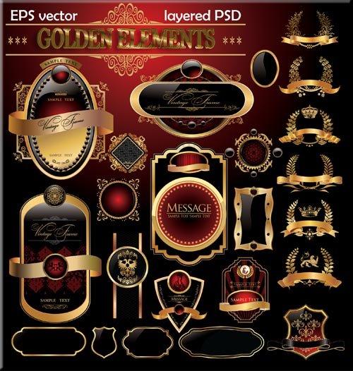 Золотые этикетки для Дизайна (psd)