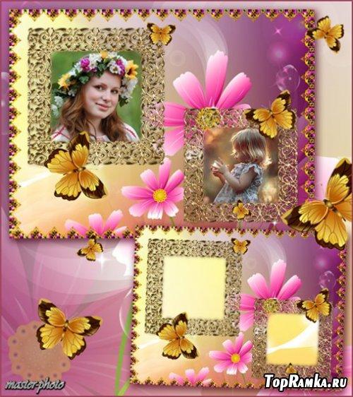 Летняя рамка с порхающими бабочками – Прекрасный миг