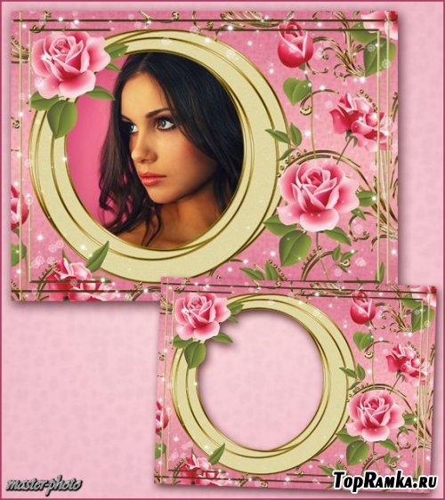 Цветочная рамка для фотошопа – Коктейль из роз