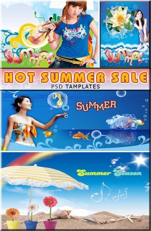 Летняя товаров продажа - модели в рекламе (layered psd)