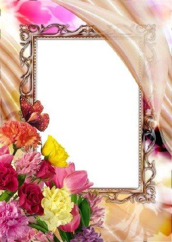Рамка для фотошоп – Цветочная романтика