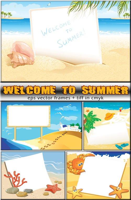 Солнечное летние дни - рамки (вектор)